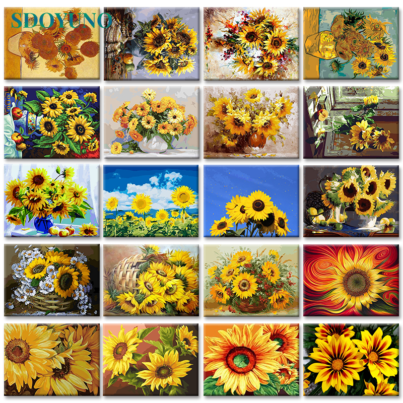H0d83cc1d118e4b4ab45c2e60c6eff5b3I SDOYUNO 60x75cm Frame DIY Painting By Numbers Kits Sunflowers Abstract Modern Home Wall Art Picture Flowers Paint By Numbers