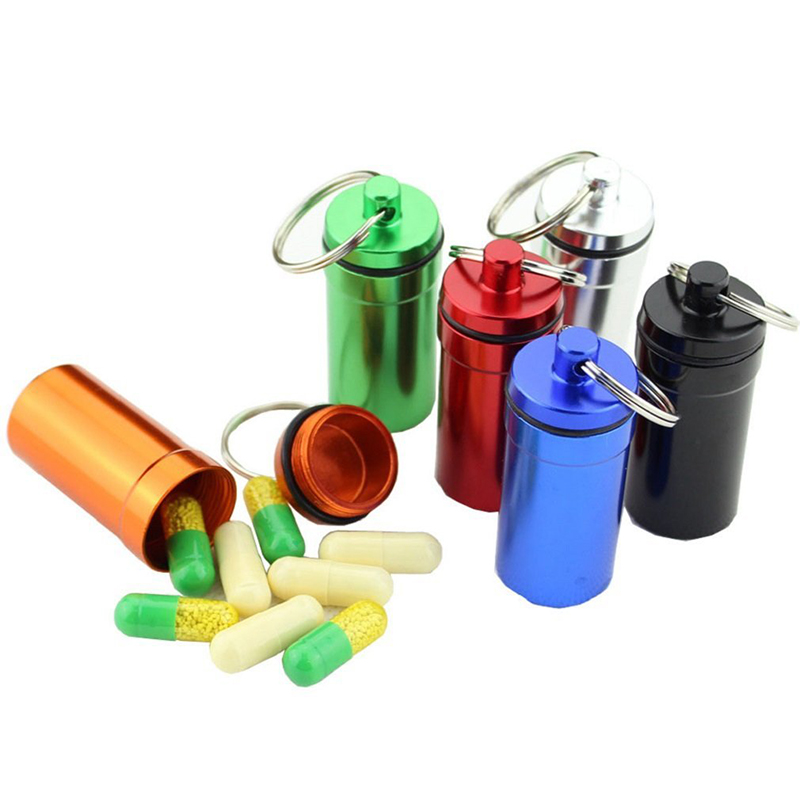 Box Mini Keychain Medicines-Case Tablets-Holder Storage-Bottle Hanging-Pendant-Container title=