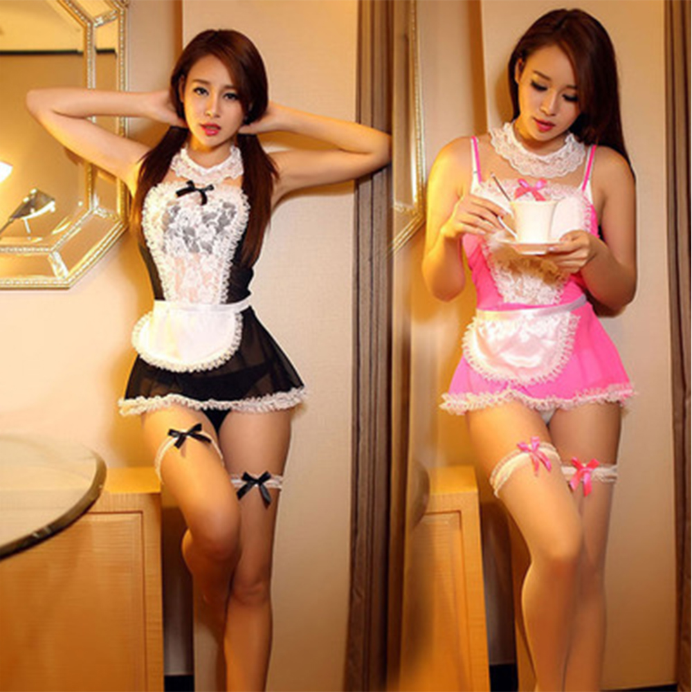Maid Uniform Costumes Role Play Women Sexy Lingerie Hot Sexy Underwear Lovely Female White Lace Erotic Costume Porno Sexi