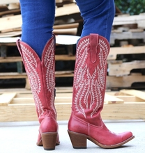 WENYUJH Autumn Winter Classic Embroidered Cowboy Boots For Women Leather Boots Low Heels Shoes Knee High Woman Boots Ladies Boot boots women autumn winter low heels knee high slip on belt buckle ladies women metal decor fashion crocodile leather knight boot