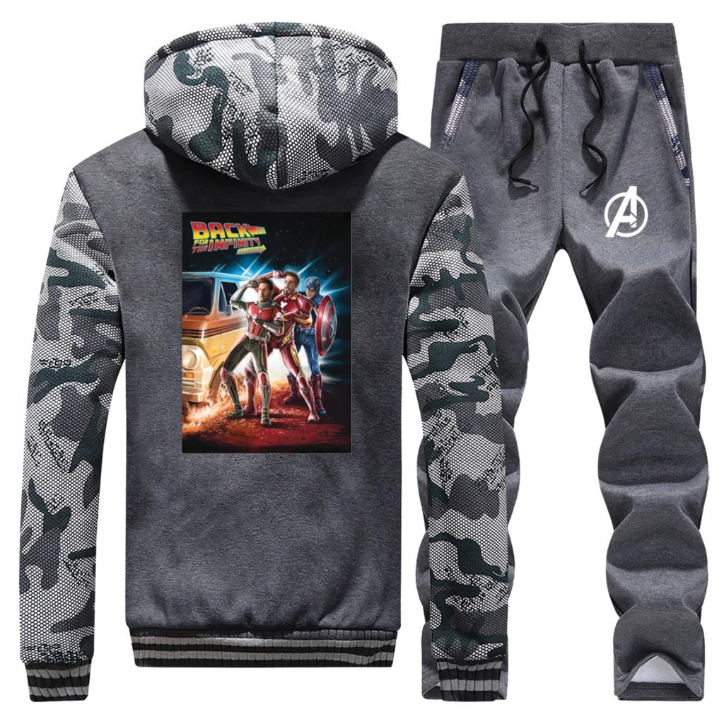 Back To The Future Print Thick Male Set Iron Man Spider-Man Camo Jackets Casual Fleece Warm Sweatsuit Men's Marvel Avengers Sets