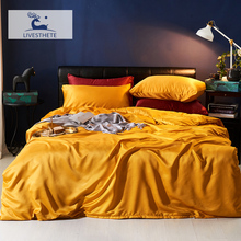 Liv-Esthete Luxury 100% Silk Yellow Bedding Set Silky Duvet Cover Pillowcase Flat Sheet Queen King Bed Linen For Deep Sleep