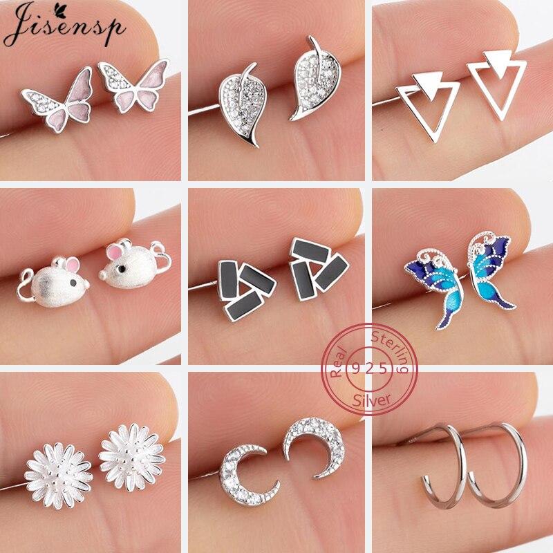Prawdziwe 925 Sterling Silver Crystal Crescent kolczyki w kształcie księżyca dla kobiet biżuteria ślubna śliczne pióro Daisy Flower Earing Child Jewelry
