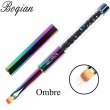 Bqan arco-íris escova de unhas ombre escova para manicure acrílico uv gel extensão caneta para unha polonês pintura desenho escova pintura