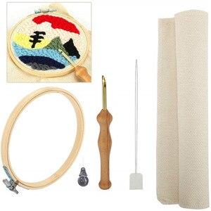 Mango de madera bolígrafo para bordar conjunto de agujas de punzón artesanal Kit de costura con bordado aro tela enhebradora de fieltro