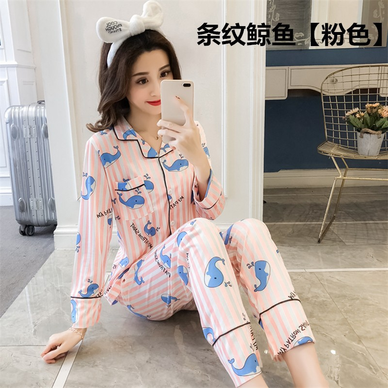 Chun Mian Women's Spring And Autumn Cartoon Whale Pajamas Korean-style Fold-down Collar Cardigan WOMEN'S Tracksuit Long Sleeve-S
