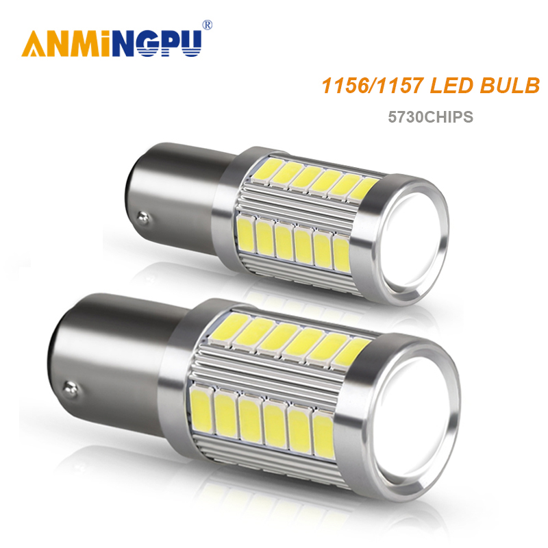 ANMINGPU 2x Car Led Signal Lamp <font><b>1156</b></font> <font><b>P21W</b></font> Led BA15S <font><b>Canbus</b></font> BAU15S PY21W 5730SMD BAY15D 1157 Led P21/5W Brake Light Tail Lamp 12V image
