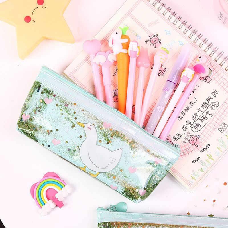 Pencilcase ペンバッグボックス韓国語バージョン流砂オイル Pvc Estuches かわいいアヒル透明グリッター創造女の子文房具ポーチ