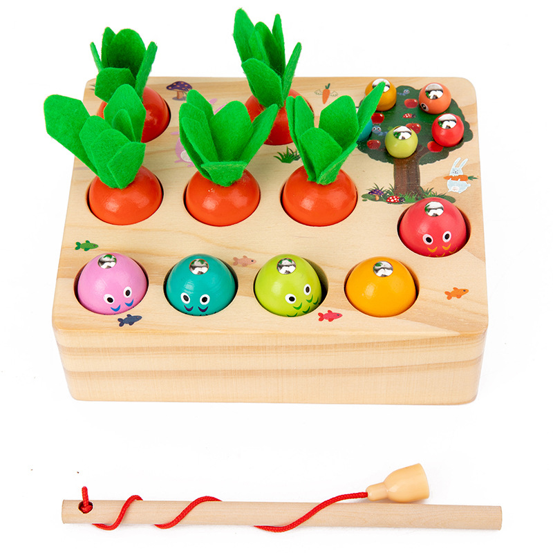 Montessori Puzzle Toys 3D Cognitive Strawberry Grasping Ability Wooden Toy Early Educational Puzzle Catch Worm Game Baby Toys 20