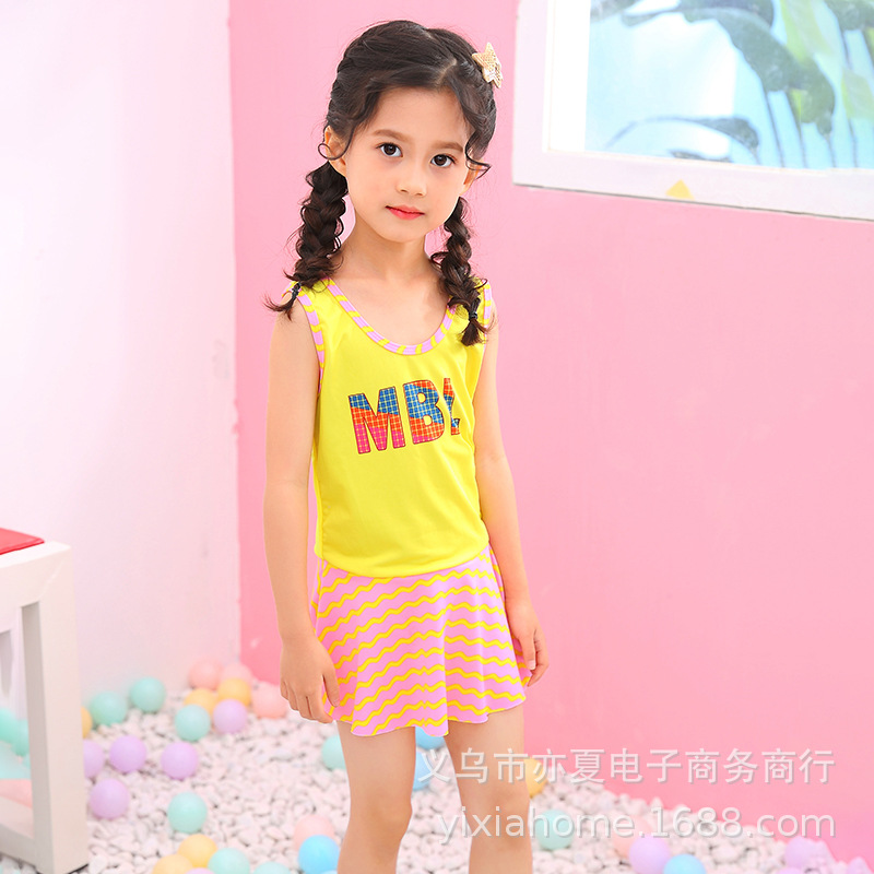 Hot Sales New Style Baby Girls Solid Color Dress Swimwear Children 2-4-6-Year-Old Bathing Suit Beach Holiday Tour Bathing Suit