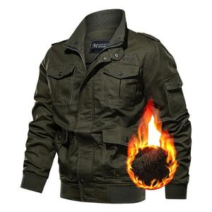 Image 4 - Chaqueta militar de invierno para hombre, chaqueta bomber gruesa de algodón, chaqueta informal de piloto de la fuerza aérea, ropa, forro de lana de talla grande, novedad de 2019