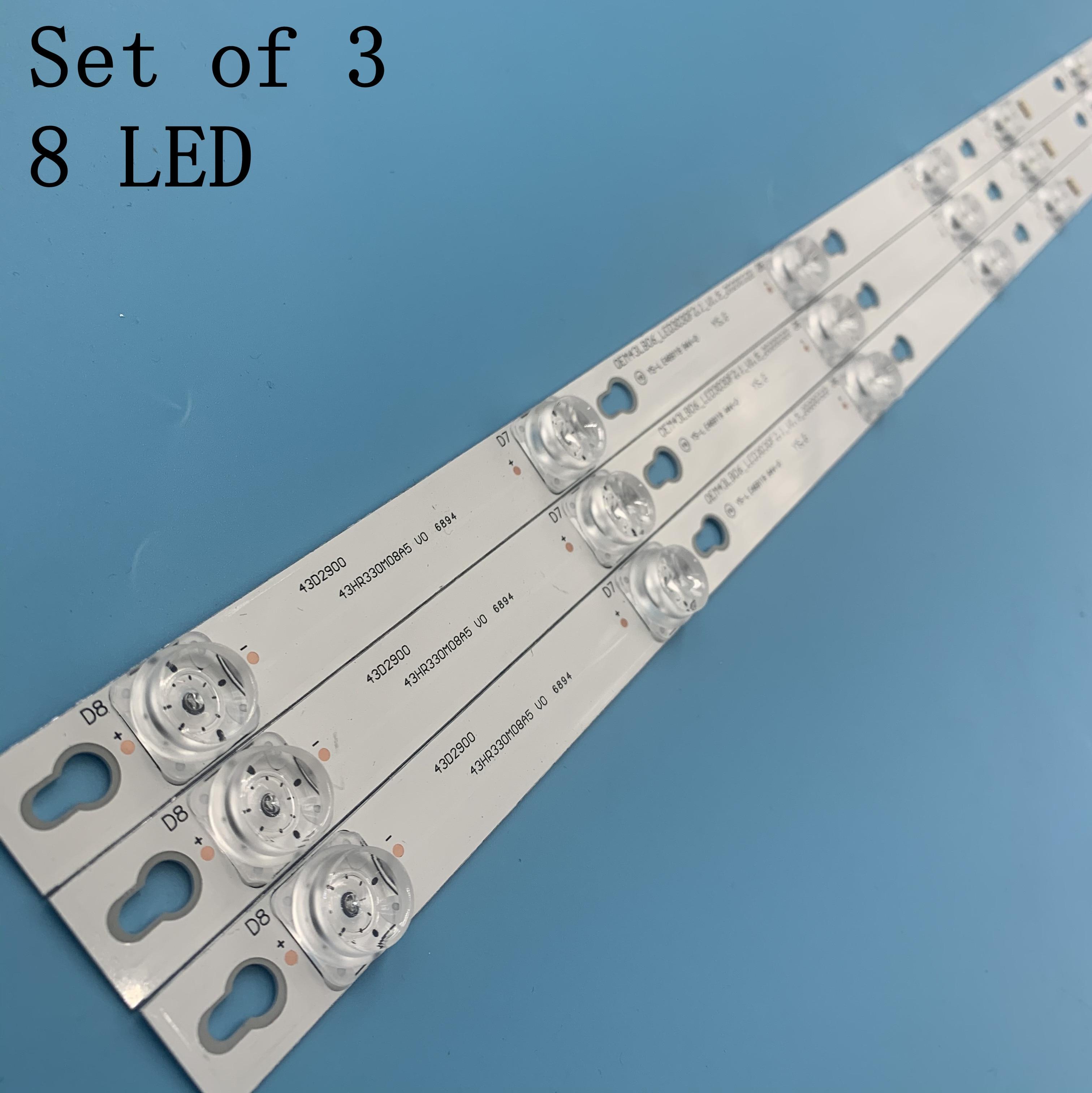 TCL D43A810 U43P6046 Led Backlight L43P1-F 4C-LB4308-ZM02J TOT_43D2900_3X8_3030C_d6t-2d1_4S1PX2 Rev.V2 TV 8 Lamps 6V