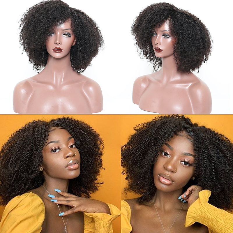 Afro crépus bouclés dentelle avant perruque 13x6 court Bob perruques de cheveux humains 250 densité U partie perruque brésilienne frontale perruque vierge 4B 4C Dolago - 2