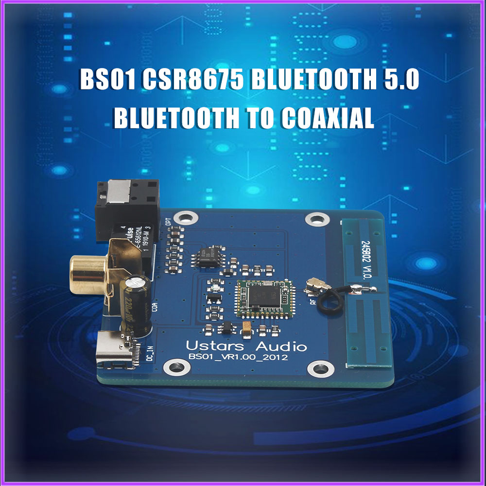 BS01 CSR8675 Bluetooth 5.0 Bluetooth To Coaxial Fiber Digital Interface APTX HD LDAC