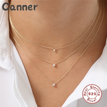 925 Sterling Silver Necklace Rhinestone Crystal Necklaces For Women Cubic Zircon Choker Necklaces Wedding Collier Femme Gift A40