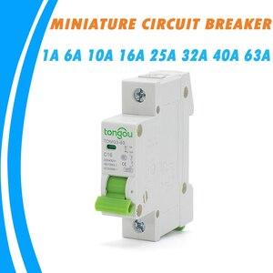 Миниатюрный автоматический выключатель 6A 10A 16A 25A 32A 40A 63A MCB с защитой от перегрузки и короткого замыкания, 4.5KA 110V230V 400VAC для домашнего использо...