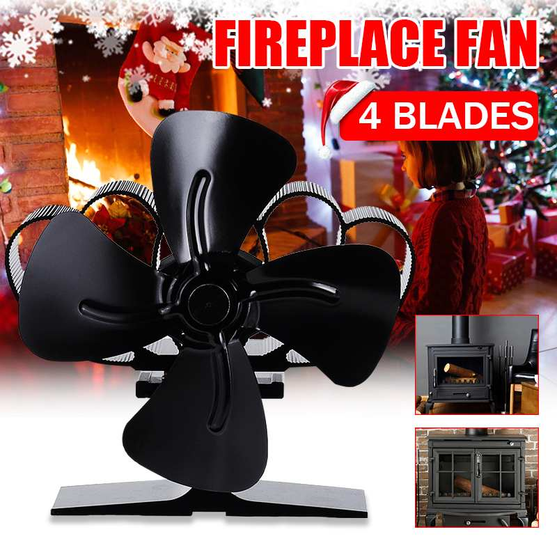 4 Blade Stove Fan Black Fireplace Fan Heat Powered Wood Burner Eco-Friendly Fan Quiet 203CFM Home Efficient Heat Distribution