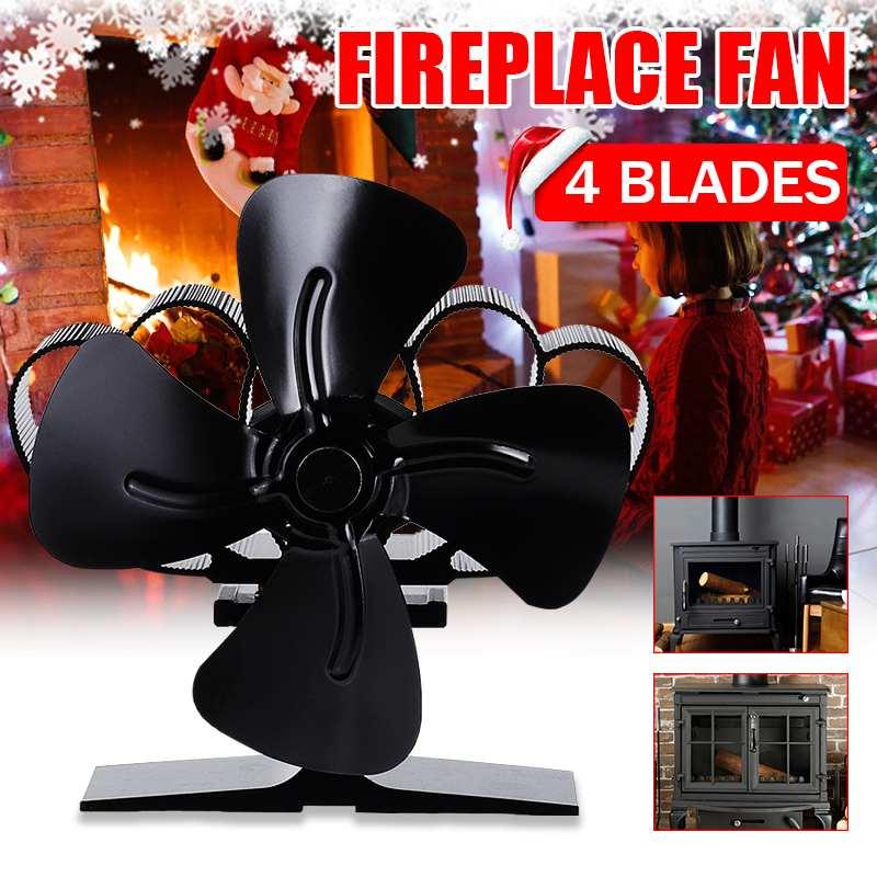 4 Blade Stove Fan Black Fireplace Fan Heat Powered Wood Burner Eco-Friendly Fan Quiet 203CFM Home Efficient Heat Distribution