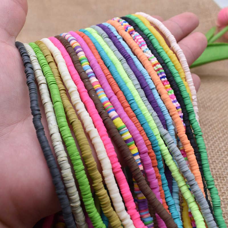 4x1mm Flache Runde Handgemachte Runde Polymer Fimo Ton Chip Disk Lose Spacer Perlen Für DIY Schmuck Machen halskette Armband Finding