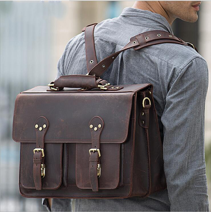 Super Quality Handmade Genuine Leather Men's Travel Briefcase Cowhide Laptop Bag Vintage Business Bag Real Leather 3 Way Bagpack