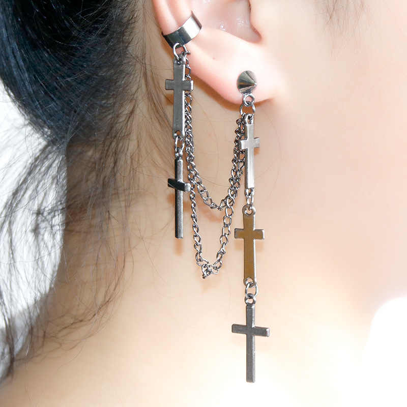 Eropa dan Amerika Kreativitas Punk Alloy Cross Anting-Anting