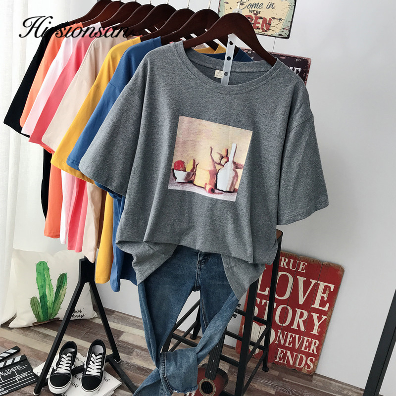 Hirsionsan Abstract Printed Cotton T Shirt Women 2020 New Vintage Harajuku Aesthetic Soft Female Tees Plus Size Short Sleeve Top