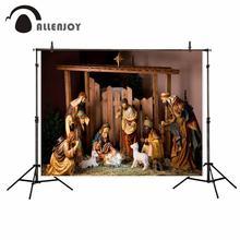 Allenjoy Christmas photophone background nativity scene sheep model religion vintage photography backdrop for photo photocall