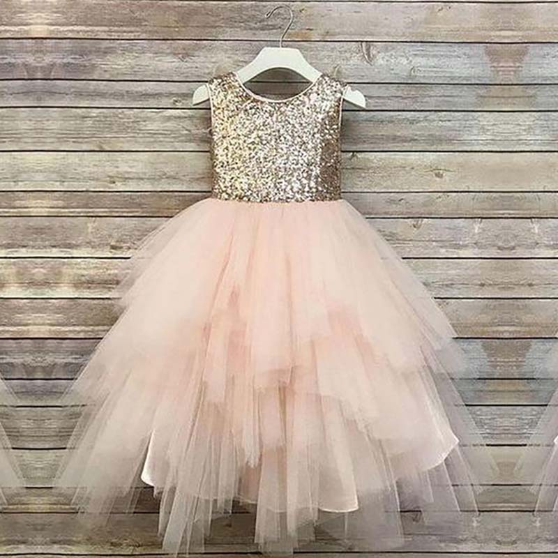 Formal Little   Girls     Dress   Gold Sequin Tiered Holiday Birthday Wedding Party Elegant   Dresses   Long Tulle   Flower     Girl     Dresses   Pink