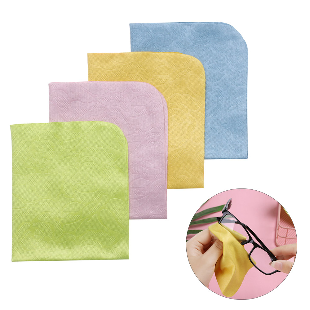 Random!! 2Pcs 150*175mm Microfiber Glasses Cleaning Cloth For Lens Phone Screen Cleaning Wipes Rose-printed Eyeglasses Cleaner