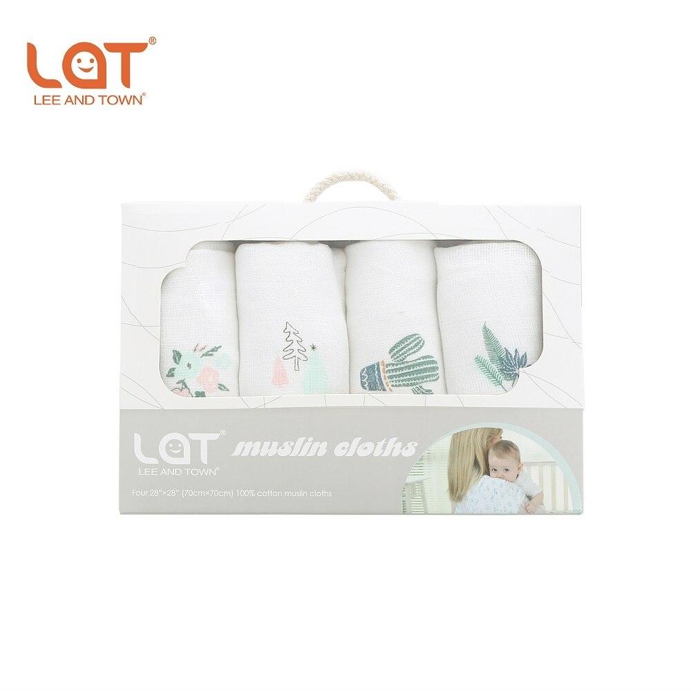 Orginal LAT 70*70cm Newborn Gauze Muslin Cloth 4 Pack Absorbent Muslin Washable Diapers100% Cotton Baby Burp Cloth Aniamal Print