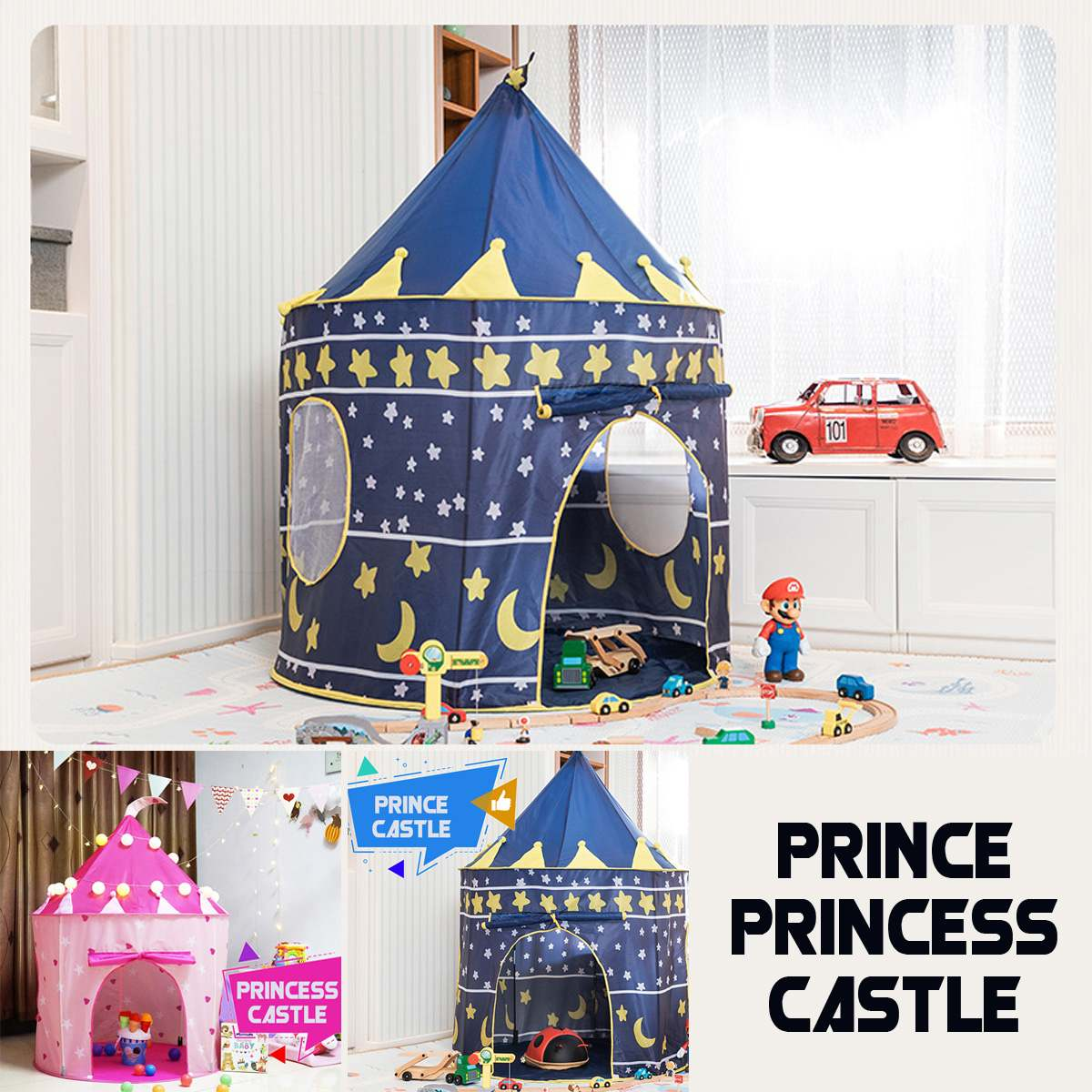 LBLA Portable Princess Prince Castle Kid Tent Children Teepee Tent Play House Tent Birthday Christmas New Year Gift Present