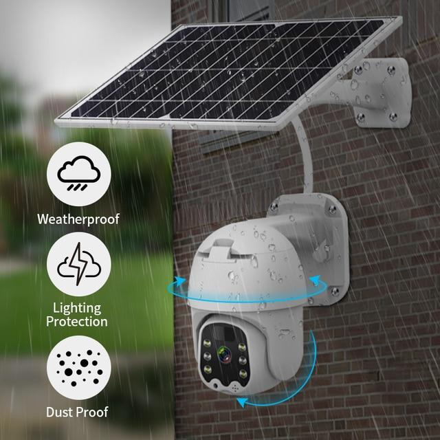 Фото 1080p 4g беспроводная камера безопасности на солнечных батареях