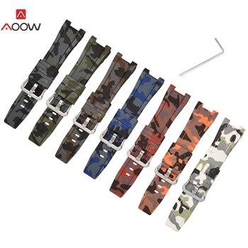 AOOW Camouflage Rubber Straps for Casio G- Shock GST-W300/GST-S110/S100G/GST-W110/W100G Bracelet Sport Watchband Accessories casio g shock gst w110d 2a