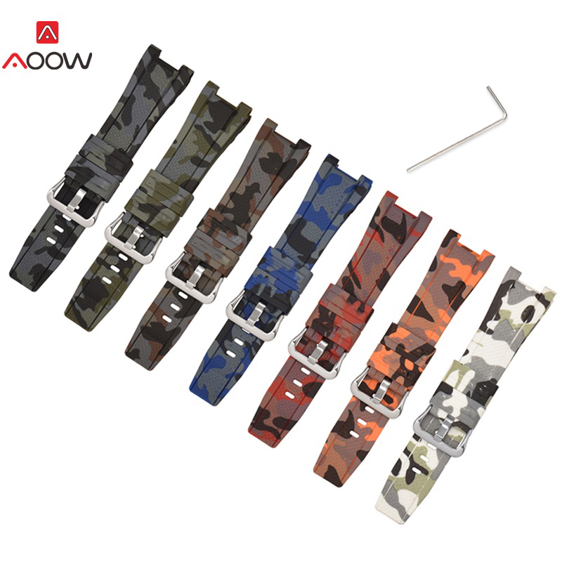 AOOW Camouflage Rubber Straps for Casio <font><b>G</b></font>- <font><b>Shock</b></font> GST-W300/GST-S110/S100G/GST-W110/W100G Bracelet Sport <font><b>Watchband</b></font> Accessories image