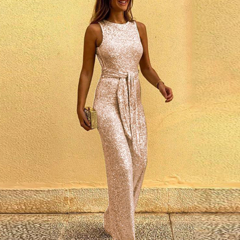 Spring Women Glitter Jumpsuit Sexy Backless Bandage Romper Overall Summer Sleeveless Shiny Belt Party Playsuit Bodysuit Clubwear 3