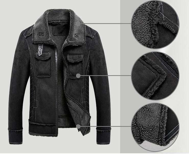 Plus size 5XL Winter Thick Leather Coat Men Casual flocking Leather Jacket Men's Warm Motorcycle leather Jackets Coats Black - 5