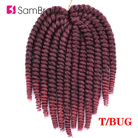 SAMBRAID Havana Mambo Twist Crochet Hair Braids 14 Inch 12 Strands/pack Synthetic Hair Ombre Braiding Hair Extensions 5 Colors Islamabad