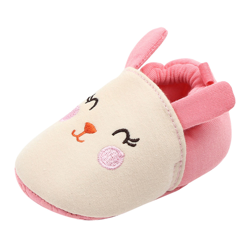 NEW Baby Girl Snail Pink First Walker Soft Sole Baby Crib Shoes Slippers