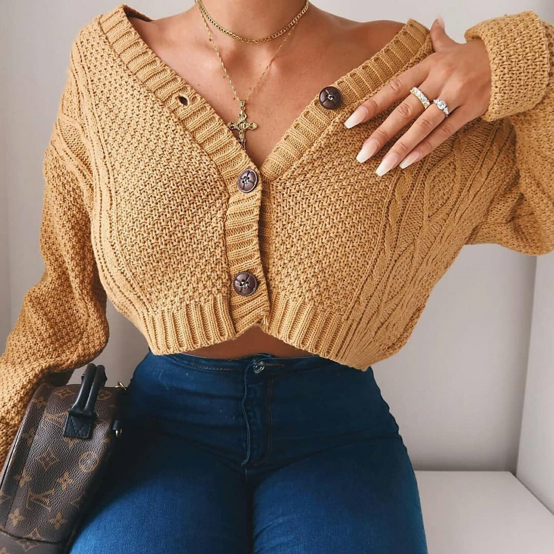 Hirigin Chic Women Cropped Cardigan Sweater Fall 2020 Knitwear Short Cardigan Girl Long Sleeve Twist Crochet Top Pull Femme