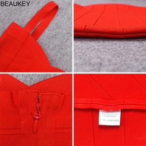Image 5 - BEAUKEY حجم كبير XL فستان صيفي المرأة مثير أحمر حار الوردي ضمادة فستان Vestido السيدات أنيقة مصمم Bodycon فستان حفلة صغيرة