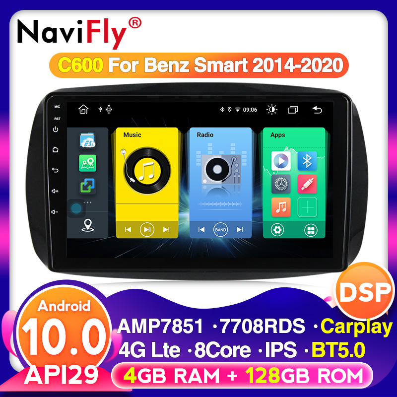 Android 10.0 reprodutor de rádio de multimídia do carro para mercedes benz smart fortwo c453 a453 w453 2014-2020 navegação gps bt5.0