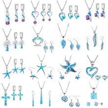 FDLK-Conjunto de 20 estilos de accesorios trenzados cruzados para mujer, colgante de ópalo de Fuego Azul de imitación, collar, pendientes, conjunto de joyería