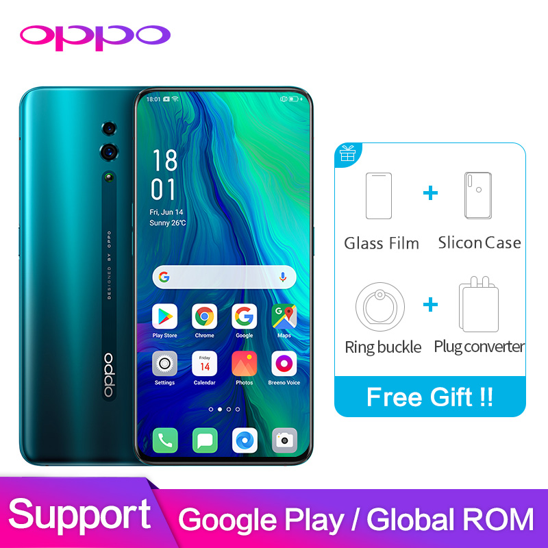 OPPO Reno Global 48MP 6 ROM GB 128GB NFC Suporte de Software do Google + 5MP 3765mAh Snapdragon 710 Octa núcleo Telefone Inteligente Móvel