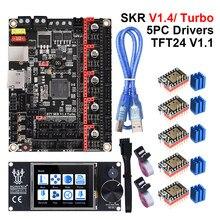 Bigtreetech skr v1.4 turbo btt skr v1.4 placa + tft24 v1.1 tela de toque tmc2209 uart peças da impressora 3d cr10 ender3 v2 atualização