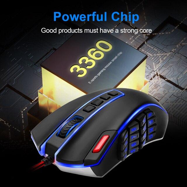Redragon LEGEND M990 USB wired RGB Gaming Mouse 24000DPI 24 botones ratón de juego programable retroiluminación ergonómico ordenador portátil 1