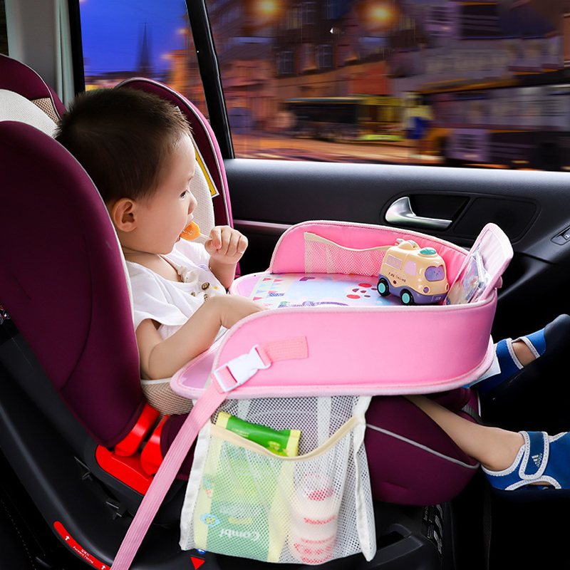 Baby Car Tray Plates Portable Waterproof Dining Drink Table For Kids Car Seat Child Cartoon Toy Holder Storage Baby Fence