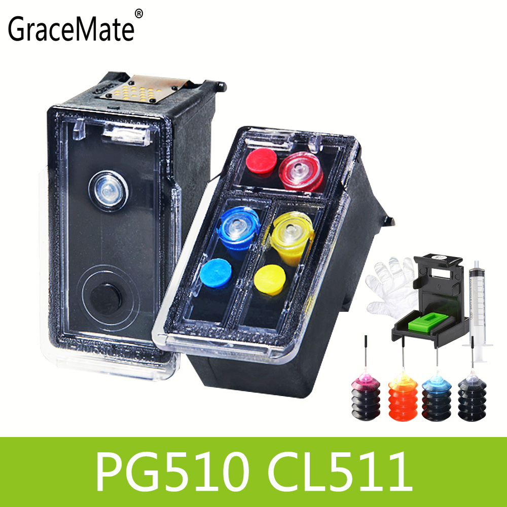 PG510 CL511 Refillable Ink Cartridge replacement for Canon PG 510 CL 511 Pixma MP240 MP250 MP260 MP270 MP280 MP480 MP490 IP2700