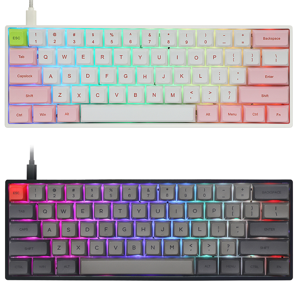 Gk61x Gk61 60% Mechanical Keyboard Rgb Switch Led Hot Swapping Socket Type C Pcb Case With Split Spacebar Software Program