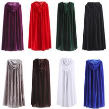 Capa con capucha para adulto, túnica larga de terciopelo, verde, negro, rojo, Halloween, Carnaval, abrigo, bruja Medieval, disfraz de vampiro Wicca