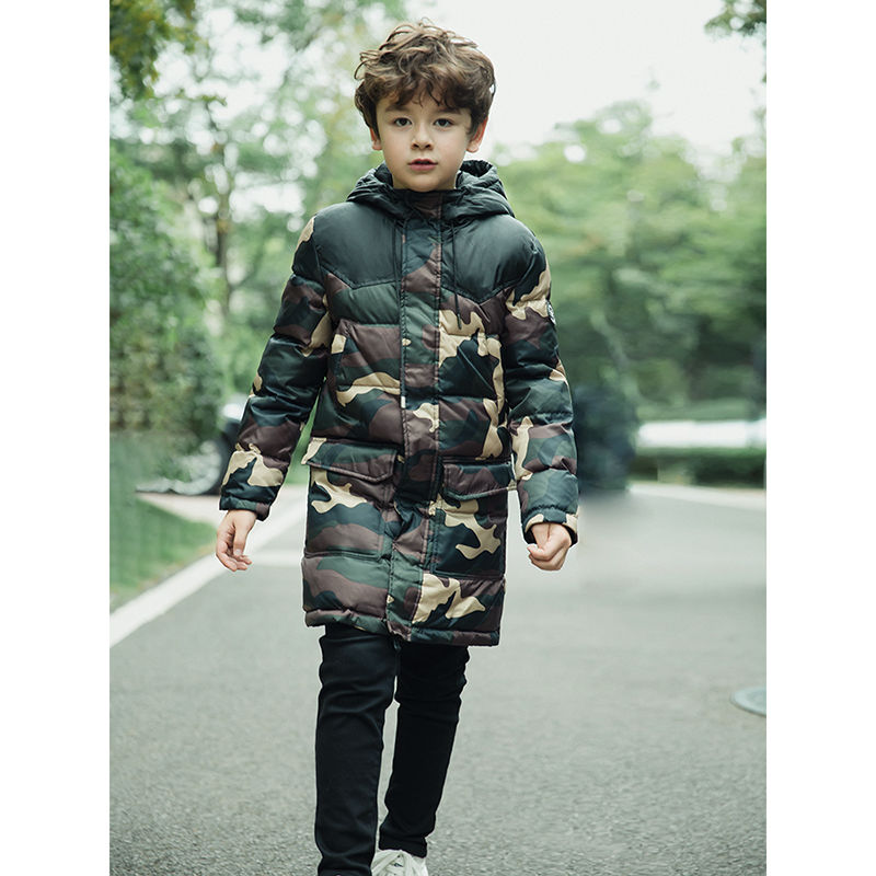 Boys Winter Camouflage Coat Kids Warm Long Hooded Jacket Camouflage Print Warm Jacket Fashion Thick Teenager Windproof Outerwear